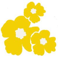 ホームページ、ネットショップ、web制作のフリー素材:大人可愛い黄色の南国風の花(3輪)の壁紙(テクスチャ)のフリー素材(200×200pix)