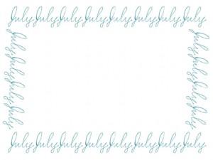 夏のweb制作、ネットショップ、ホームページ、バナー広告のwebデザイン素材:大人可愛いパステルブルーの手書き文字「July」(7月)のフリー素材(640×480pix)