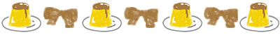 ホームページ、ネットショップ、web制作の飾り罫のwebデザイン素材:大人可愛い茶色のりぼんとプリンのフリー素材(400×50pix)