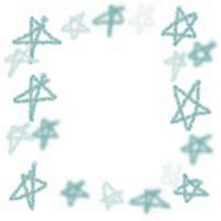 ネットショップ、バナー広告のアイコン(twitter,mixi)、webデザイン素材:ポップでガーリーなパステルブルーの手描きの星のフレーム(200×200pix)