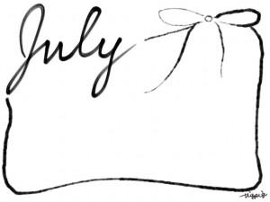 フリー素材:フレーム・飾り枠:640×480pix;モノクロの手書き文字 July とガーリーなリボンの飾り枠の大人かわいいwebデザイン素材