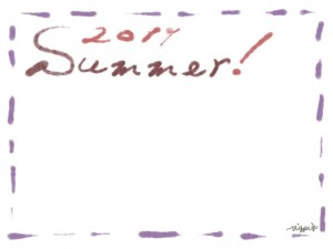 フリー素材:フレーム・飾り枠:640×480pix;大人かわいい青紫のステッチ(破線)と茶色の2011とSummerの手描き文字の飾り枠のwebデザイン素材