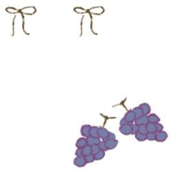 バナー広告のwebデザイン素材:ガーリーで大人可愛い抹茶色のリボンと葡萄(ブドウ)のフリー素材(250×250pix)