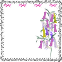 七夕のバナー広告、アイコンのwebデザイン素材:大人可愛い七夕飾りとピンクのリボンとレースの飾り枠のイラストのフリー素材