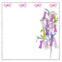 七夕のバナー広告、アイコンのwebデザイン素材:大人可愛い七夕飾りとピンクのリボンとシンプルなラインの枠のイラストのフリー素材