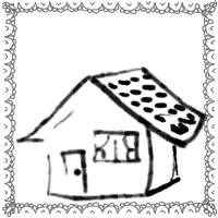 エコ、節電のバナー広告、アイコンのwebデザイン素材:大人可愛いお家とレースの縁飾りのモノクロのネットショップ制作のフリー素材