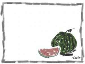 夏のネットショップ、バナー広告、webデザインのフリー素材:大人かわいい西瓜(スイカ)と手書きの2011Summerの文字とシンプルな鉛筆風ラインのフレーム(枠)