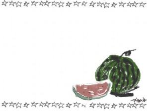 夏のwebデザインのフリー素材:ガーリーなスイカとピンクの手描きの星いっぱいのフレーム(囲み枠)のイラスト