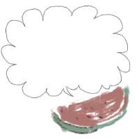 アイコン(twitter,mixi,ブログ)のフリー素材:和風のカットスイカとガーリーな吹出しのイラスト。夏の季節のwebデザイン素材