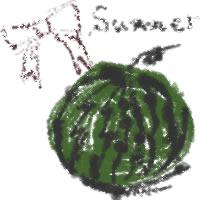 アイコン(twitter,mixi,ブログ)のフリー素材:リボンとsummerの手書き文字とスイカのイラストのガーリーな夏の季節のwebデザイン素材