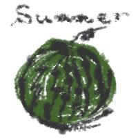 アイコン(twitter,mixi,ブログ)のフリー素材:和風のスイカのイラストとsummerの手書き文字のガーリーな夏の季節のwebデザイン素材