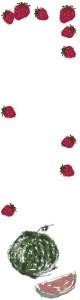 バナー広告のフリー素材:ガーリーで和風のスイカといちごの飾り枠