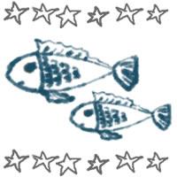 夏のアイコン(twitter,mixi,ブログ)制作のwebデザイン素材:ガーリーなお魚(2匹)と手描きの星いっぱいの飾り枠のフリー素材