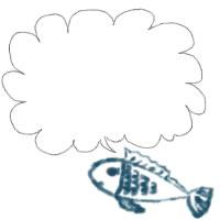 夏のアイコン(twitter,mixi,ブログ)制作のwebデザイン素材:ガーリーなで大人可愛いブルーの魚とふわふわの吹出しのフリー素材