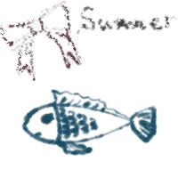 夏のバナー広告、アイコンのwebデザイン素材:大人可愛い茶色リボンとsummerの手書き文字とガーリーなさかなのイラストのフリー素材