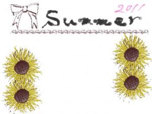 ネットショップ、バナー広告、webデザインのフリー素材:ガーリーなひまわりとリボンと2011Summerとラインの華やかなイラスト。
