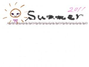 フリー素材:夏のフレーム;ガーリーな太陽のイラストと2011summerの手書き文字の無料素材