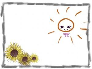 夏の花のフリー素材:ガーリーな太陽と大人かわいいヒマワリと鉛筆のラフなラインのフレームの無料素材