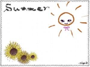 夏のネットショップ、webデザインのフリー素材:ガーリーな太陽とヒマワリとグレーのレースのフレーム