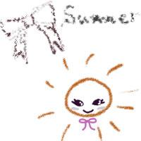 アイコン(twitter,mixi,ブログ)制作のフリー素材:ガーリーな茶色のりぼんとsummerの手書き文字と太陽のwebデザイン素材