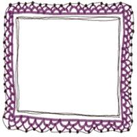バナー広告、アイコン(twitter,mixi)のフリー素材:紫の大人カワイイ手編みレース風フレームのフリーイラスト