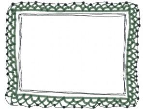 ネットショップ、バナー広告、webデザインのフリー素材:ガーリな緑色の手編みレース風のイラストのフレーム