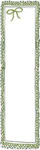 バナー広告のwebデザイン素材:ガーリな緑色の手編みレースとりぼんの飾り枠のイラスト。ネットショップのフリー素材(160×600pix)