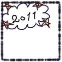 バナー広告、ネットショップのwebデザイン素材:モノクロのクレヨン風のラインと星と2011の手書き文字と吹出しの飾り枠(125×125pix)
