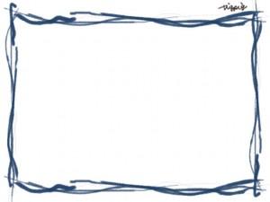 フリー素材:フレーム;海の波をイメージしたシンプルなブルーブラックのラインの囲み枠のイラスト