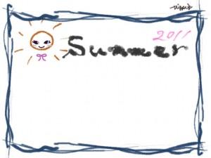 フリー素材:フレーム;夏の海の波みたいなラフな青の手描きラインと太陽のイラストと2011summerの手書き文字のwebデザイン素材