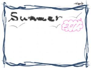 フリー素材:フレーム;夏の海の波みたいなラフな青の手描きラインと2011summerの手書き文字のwebデザイン素材