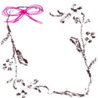 フリー素材:大人かわいいアイコン(twitter,mixi)の無料イラスト;ガーリーなピンクのりぼんとシンプルな茶色の枝と葉と小さな実のwebデザイン素材
