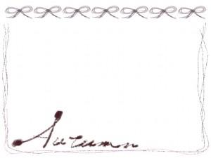 フリー素材:フレーム;Autumnの手書き文字とリボンとラフなラインの飾り罫。大人かわいい秋のイラスト