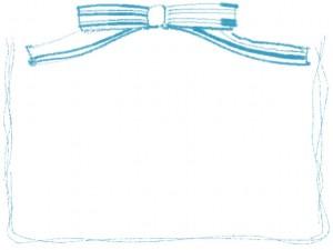 フリー素材:フレーム;大人可愛いパステルブルーのストライプのリボンとラフなラインのwebデザインの飾り枠
