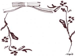 フリー素材:フレーム;北欧風デザインのシンプルなブラウンブラックのリボンと木の枝のイラストの飾り枠のweb素材