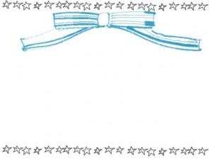 フリー素材:フレーム;シンプルな鉛筆風手描きの星の飾り罫とパステルブルーのガーリーなリボンのイラスト(640×480pix)