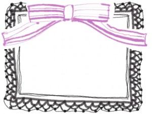 フリー素材:フレーム・飾り枠::640×480pix;大人可愛いモノクロのポンポン付きレースとピンクのストライプのりぼんのイラストのwebデザイン素材