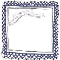 アイコン(twitter,mixi,ブログ)のフリー素材:紺色のレースの飾り枠と茶色のストライプのリボンのガーリーなイラストのwebデザイン素材