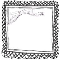 フリー素材:アイコン(twitter,mixi,ブログ)の無料イラスト;大人可愛いモノクロのリボンとレースの飾り枠のガーリーなwebデザイン素材