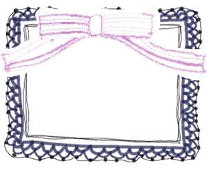 フリー素材:バナー広告のフレーム;ガーリーな紺色のレースとピンクのリボンの飾り枠;300×250pix