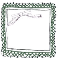 フリー素材:バナー,アイコンのフレーム;大人かわいい深緑のリボンの飾り罫のイラストの飾り枠