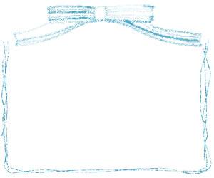 フリー素材:バナー,アイコンのフレーム;大人かわいいパステルブルーのリボンとラフなラインのイラストの飾り枠
