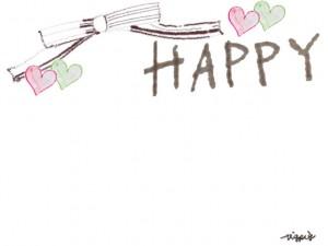 フリー素材:フレーム;大人かわいいリボンと小さなハートとHAPPYの手書き文字のイラスト