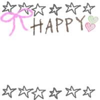 アイコン(twitter,mixi,ブログ)のフリー素材:HAPPYの手書き文字とハートとりぼんとラフな星いっぱいの飾り枠のガーリーなwebデザイン素材