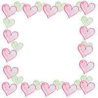 フリー素材:アイコン(twitter,mixi,ブログ);大人かわいい水彩のハートいっぱいの飾り枠のガーリーなwebデザイン素材(200×200pix)