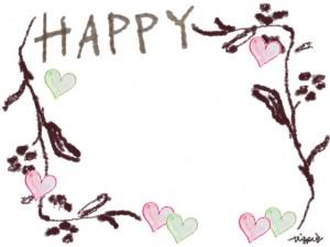 フリー素材:フレーム;大人可愛い北欧風のシンプルな枝とハートとHAPPYの手書き文字の飾り枠(フレーム)