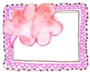 フリー素材:バナー広告,写真加工;水彩色鉛筆の吹出しとガーリーなピンクのレースのフレーム(飾り枠);300×250pix