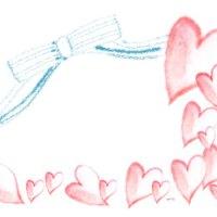 フリー素材:フレーム; ガーリーな水色のリボンと大人かわいいピンクの水彩のハートいっぱいのイラストの飾り枠;300×250pix