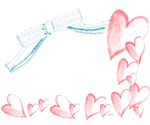フリー素材:バナー広告,フレーム; ガーリーな水色のリボンと大人かわいいピンクの水彩のハートいっぱいのイラストの飾り枠;300×250pix