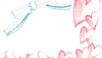 フリー素材 フレーム 大人可愛い水色のシマシマのリボンと水彩のピンクのハートいっぱいのイラストの飾り枠 640 480pix ネットショップ制作などに使える約5000点のwebデザイン素材 Tigpig